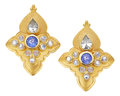 Estate Jewelry:Earrings, Sapphire, Moonstone, Gold Earrings, Paula Crevoshay. ...