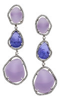 Estate Jewelry:Earrings, Chalcedony, Tanzanite, Diamond, White Gold Earrings. ...