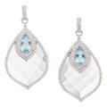 Estate Jewelry:Earrings, Diamond, Aquamarine, Quartz, White Gold Earrings. ...