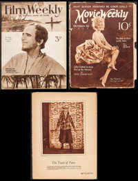 """Movie Weekly & Other Lot (MacFadden Publications, 1923/1934). Magazines (3) (Multiple Pages, 9.5"""" X 12.5&qu..."""