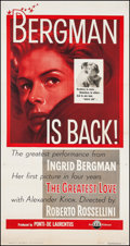 """Movie Posters:Foreign, The Greatest Love (I.F.E. Releasing Corp., 1954). Three Sheet (41.25"""" X 78.75""""). Foreign. Original Title: Europa 51.. ..."""