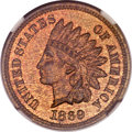 Proof Indian Cents, 1869 1C PR63 Red and Brown NGC....