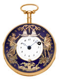 Timepieces:Pocket (pre 1900) , Swiss Gold Quarter Hour Repeater With Automaton, circa 1820. ...
