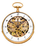 Timepieces:Pocket (pre 1900) , Swiss Gold Skeletonized Quarter Hour Repeater With Automaton, circa 1820. ...
