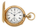 Timepieces:Pocket (pre 1900) , Waltham Model 1874 Chronograph Heavy Gold Hunters Case, circa 1884. ...