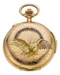 "Timepieces:Pocket (pre 1900) , Swiss 18k Gold Quarter Hour Repeater With Raised ""Eagle"" Case, Chronograph, circa 1895. ..."