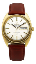 Timepieces:Wristwatch, Omega 14k Gold Constellation Day Date Chronometer, circa 1972. ...