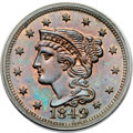 Proof Large Cents, 1849 1C PR62 Red and Brown PCGS. CAC. N-18, R.6. Our EAC GradePR62....