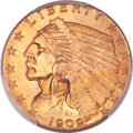 Indian Quarter Eagles, 1909 $2 1/2 MS66 PCGS. CAC....