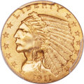 Indian Quarter Eagles, 1911-D $2 1/2 Strong D MS64+ PCGS. CAC....