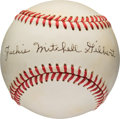 Baseball Collectibles:Balls, 1980's Jackie Mitchell The Woman Who Struck Out Babe Ruth & Lou Gehrig Single Signed Baseball. ...