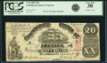 Confederate Notes:1861 Issues, Confederate States of America - T18 $20 1861 PF-20, Cr. 129. PCGS Very Fine 30.. ...