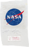 Explorers:Space Exploration, Apollo 13 Flown Nametag and NASA Logo from Commander James Lovell'sPLSS Backpack Directly from His Personal Collection, Signe...