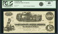Confederate Notes:1862 Issues, Confederate States of America - T40 $100 1862 PF-20, Cr. 308.Israel Gibbons Endorsed. PCGS Extremely Fine 40.. ...