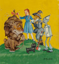 Mainstream Illustration, Anton Loeb (American, 20th Century). Wizard of Oz, bookcover, 1950. Gouache on board. 9.75 x 9 in. (sight). Signedlowe...