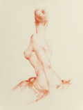 Pin-up and Glamour Art, Joaquin Canedo (Spanish, 1735-1805). Sideview Nude, 1954.Pastel on board. 28 x 21 in.. Signed lower right. Fromthe...