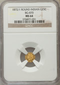 California Fractional Gold , 1872/1 25C Indian Round 25 Cents, BG-870, R.3, MS64 NGC. NGCCensus: (9/7). PCGS Population (74/18)....