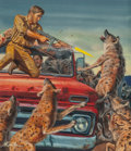 Pulp, Pulp-like, Digests, and Paperback Art, Mort Künstler (American, b. 1931). Night of the Hyenas, Malemagazine cover, March 1969. Gouache on board. 12.25 x 10.5 ...
