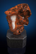 "Lapidary Art:Carvings, Condor Banded Agate Sculpture: ""Long Face"". Sculptor: PerryBrent Davis. Stone Source: Condor Mine, San RafaelDepartm..."