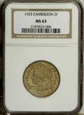 Cameroon: , Cameroon: French Colonial 2 Francs 1925, KM3, MS63 NGC, very scarcegrade....