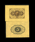 Fractional Currency:First Issue, Fr. 1231SP 5¢ First Issue Wide Margin Pair Gem New. This is a gorgeous pair with original surfaces. The face shows two full ... (Total: 2 notes)