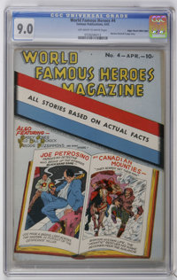 World Famous Heroes Magazine #4 Mile High pedigree (Centaur, 1942) CGC VF/NM 9.0 Off-white to white pages. A beautiful c...