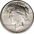 Peace Dollars: , 1921 $1 MS66 PCGS. An outstanding Premium Gem with remarkablyunabraded surfaces. Satin luste...