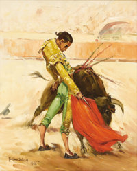PORFIRIO SALINAS (1910-1973) Untitled Bullfighter, 1956 Oil on canvas 20in. x 16in. Signed and dated lower left  Porfi...
