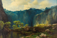 A. D. GREER (1904-1998) Big Bend Oil on canvas 24in. x 36in. Signed lower right Titled verso  A. D. Greer led a c
