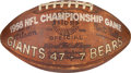 Football Collectibles:Balls, 1956 New York Giants Game Used, Team Signed NFL Championship Football - Originally Obtained from Roosevelt Brown....