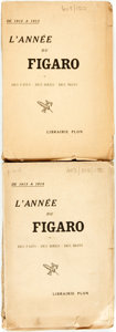 Books:Periodicals, [Bound Periodicals]. L'Année du Figaro for Years 1912 -1913, and 1913 - 1914. Paris: Librairie Plon, 1914. . ... (Total: 2Items)