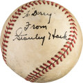 Baseball Collectibles:Balls, 1940's Stan Hack Single Signed Baseball. ...