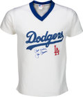 Baseball Collectibles:Uniforms, 1980's Jim Brewer Signed Los Angeles Dodgers Jersey....