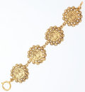 "Luxury Accessories:Accessories, Chanel Gold Medallion Bracelet. Very Good Condition. 1""Width x 7"" Length. ..."