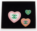 "Luxury Accessories:Accessories, Chanel Green, Pink & White Enamel CC Heart Pins. ExcellentCondition. White: 1.5"" Width x 1.5"" Length. Pink: 1"" Width x1""..."