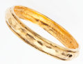 "Luxury Accessories:Accessories, Chanel Hammered Gold Bangle Bracelet. Very Good Condition. .5""Width x 8.5"" Length. ..."