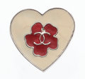 "Luxury Accessories:Accessories, Chanel Red & White Enamel Heart Lapel Pin. GoodCondition. .5"" Width x .5"" Height. ..."