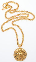 """Luxury Accessories:Accessories, Chanel Gold Sunburst Necklace. Very Good Condition. 35"""" Length. ..."""