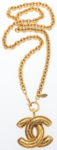 "Luxury Accessories:Accessories, Chanel Gold Quilted CC Necklace. Good to Very GoodCondition. 2"" Width x 30"" Length. ..."