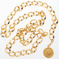 "Luxury Accessories:Accessories, Chanel Gold Chain Medallion Belt. Very Good to ExcellentCondition. .5"" Width x 33"" Length. ..."