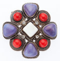 "Luxury Accessories:Accessories, Chanel Purple, Red & White Cabochon and Crystal Brooch. VeryGood Condition. 2.5"" Width x 2.5"" Length. ..."