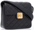 "Luxury Accessories:Accessories, Chanel Navy Quilted Lambskin Leather Shoulder Bag with GoldHardware. Very Good to Excellent Condition. 7"" Width x 7""..."