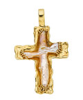 Estate Jewelry:Pendants and Lockets, Freshwater Cultured Pearl, Gold Cross Pendant. ...