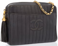 """Luxury Accessories:Accessories, Chanel Gray Quilted Lambskin Leather Shoulder Bag with GoldHardware. Good Condition. 10"""" Width x 9"""" Height x 2""""Depth..."""
