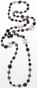 "Luxury Accessories:Accessories, Chanel Black & Gray Glass Pearl Beaded Necklace. ExcellentCondition . 44"" Length. ..."