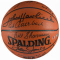 Basketball Collectibles:Balls, Boston Celtics Legends Multi Signed Leather NBA Basketball....