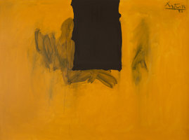 Featured item image of Robert Motherwell (1915-1991)  Untitled (Ochre with Black Line), 1972-73/1974  Acrylic and charcoal on canvas  55-3/4 x ...
