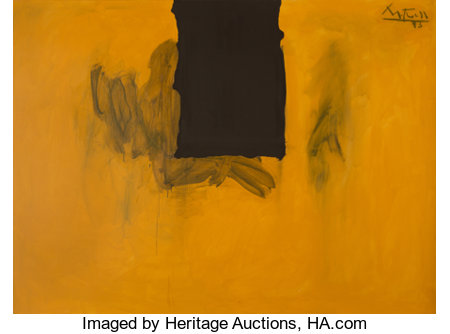Robert Motherwell (1915-1991) Untitled (Ochre with Black Line), 1972-73/1974 Acrylic and charcoal on canvas 55-3/4 x ...