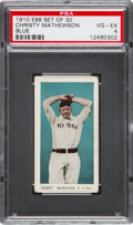 "Baseball Cards:Singles (Pre-1930), 1910 E98 ""Set of 30"" Christy Mathewson, Blue Background PSA VG-EX4. ..."