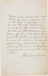 Abraham Lincoln Autograph Manuscript Signed, the Last Paragraph of His Second Inaugural Address, Circa<